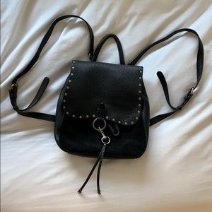 REBECCA MINKOFF- black backpack leather and suede